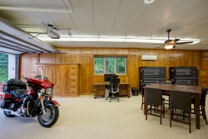garage floor coating and motorcycle